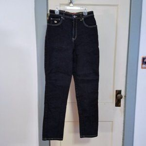 Dark Wash Raw Denim High Waist Straight Leg Jeans